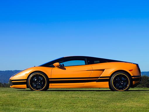 2004 Lamborghini Gallardo Orange With Black Stripes Profile View On