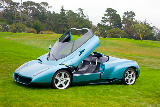 LAM 01 RK0645 01 © Kimball Stock 1996 Lamborghini Zagato Raptor Concept Blue 3/4 Front View Open Top On Grass