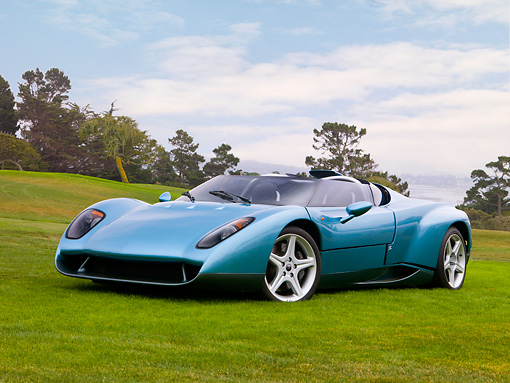 LAM 01 RK0651 01 © Kimball Stock 1996 Lamborghini Zagato Raptor Concept Blue 3/4 Front View On Grass
