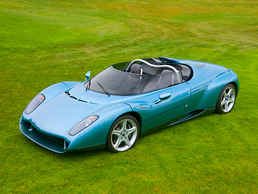 LAM 01 RK0652 01 © Kimball Stock 1996 Lamborghini Zagato Raptor Concept Blue 3/4 Front View On Grass