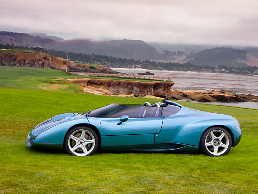 LAM 01 RK0655 01 © Kimball Stock 1996 Lamborghini Zagato Raptor Concept Blue Profile View On Grass