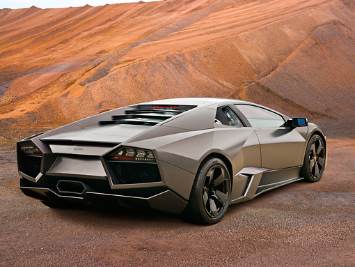 2008 Lamborghini Reventon Gray 3 4 Rear View On Dirt Kimballstock