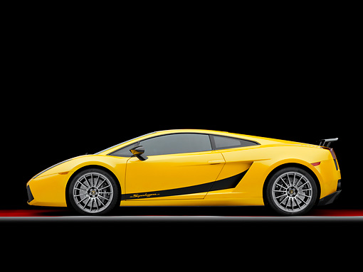 LAM 01 RK0710 01 © Kimball Stock 2008 Lamborghini Gallaro Superleggera Yellow Profile View Studio