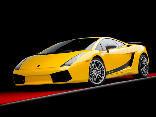 LAM 01 RK0711 01 © Kimball Stock 2008 Lamborghini Gallaro Superleggera Yellow 3/4 Front View Studio
