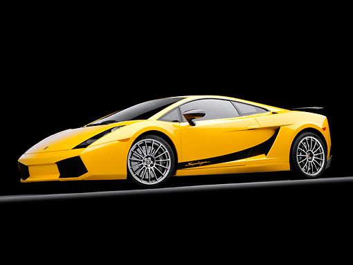 LAM 01 RK0712 01 © Kimball Stock 2008 Lamborghini Gallaro Superleggera Yellow 3/4 Front View Studio