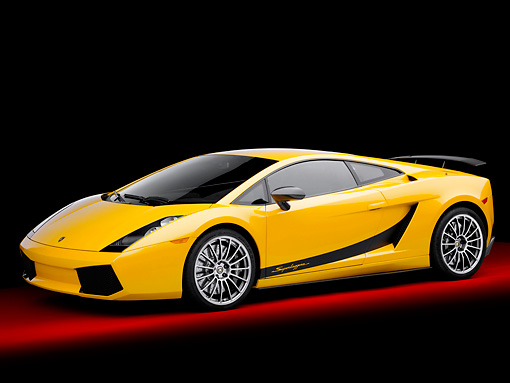 LAM 01 RK0713 01 © Kimball Stock 2008 Lamborghini Gallaro Superleggera Yellow 3/4 Front View Studio