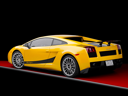 LAM 01 RK0715 01 © Kimball Stock 2008 Lamborghini Gallaro Superleggera Yellow 3/4 Rear View Studio