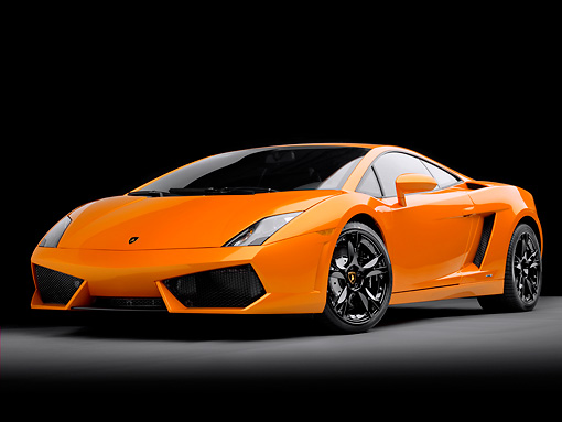LAM 01 RK0716 01 © Kimball Stock 2009 Lamborghini Gallardo LP560-4 Orange 3/4 Front View Studio