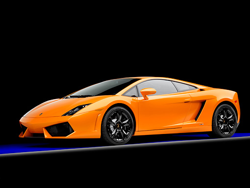 LAM 01 RK0717 01 © Kimball Stock 2009 Lamborghini Gallardo LP560-4 Orange 3/4 Front View Studio