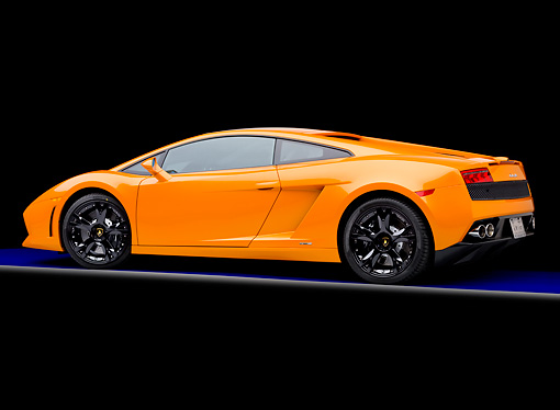LAM 01 RK0718 01 © Kimball Stock 2009 Lamborghini Gallardo LP560-4 Orange 3/4 Rear View Studio