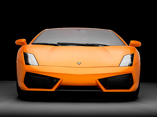 LAM 01 RK0719 01 © Kimball Stock 2009 Lamborghini Gallardo LP560-4 Orange Front View Studio