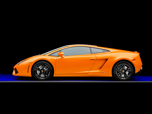 LAM 01 RK0721 01 © Kimball Stock 2009 Lamborghini Gallardo LP560-4 Orange Profile View Studio