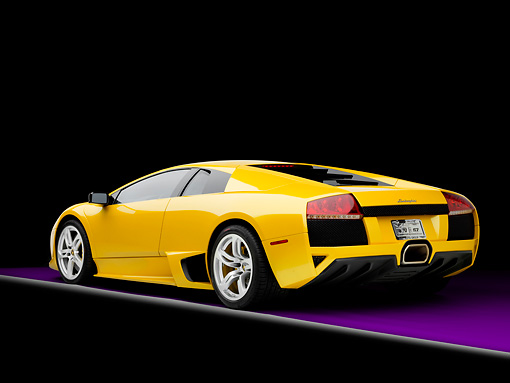 2008 Lamborghini Murcielago Lp640 Yellow 3 4 Rear View Studio