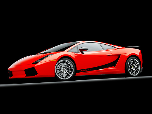 LAM 01 RK0731 01 © Kimball Stock 2008 Lamborghini Gallardo Superleggera Red 3/4 Front View Studio