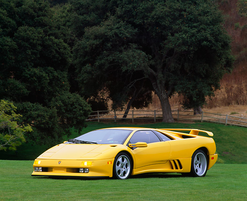 LAM 02 RK0019 17 © Kimball Stock 1994 Lamborghini Diablo Special Edition 30th Anniversary Yellow 3/4 Front View On Grass Trees Background