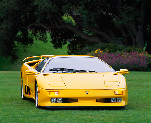 LAM 02 RK0020 03 © Kimball Stock 1994 Lamborghini Diablo Special Edition 30th Anniversary Yellow 3/4 Front View On Grass