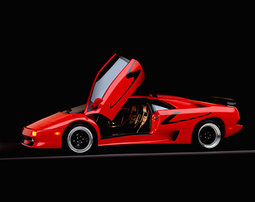 LAM 02 RK0087 06 © Kimball Stock 1998 Lamborghini Diablo SV Red 3/4 Side View On Gray Line Studio