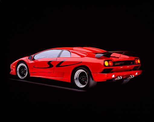 LAM 02 RK0089 01 © Kimball Stock 1998 Lamborghini Diablo SV Red 3/4 Rear View On Gray Line Studio