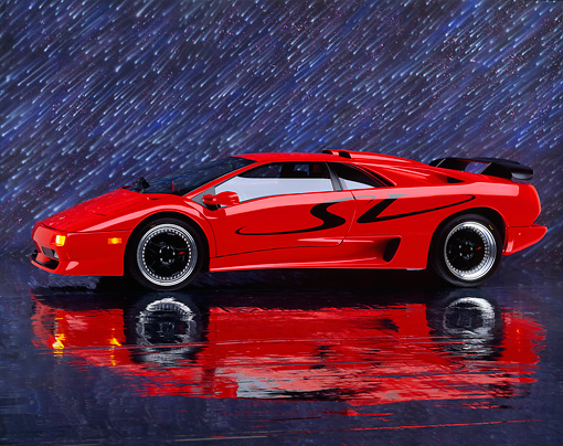 1998 Lamborghini Diablo Sv Red 3 4 Side View On Mylar Floor