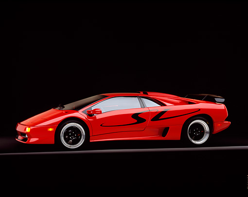 LAM 02 RK0092 03 © Kimball Stock 1998 Lamborghini Diablo SV Red 3/4 Side View On Gray Line Studio