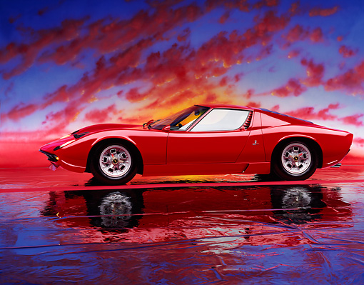 LAM 03 RK0001 09 © Kimball Stock 1967 Lamborghini Miura P-400 Red 3/4 Front View On Mylar Floor Sunset Studio