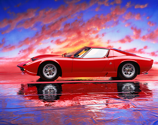 LAM 03 RK0001 10 © Kimball Stock 1967 Lamborghini Miura P-400 Red 3/4 Front View On Mylar Floor Sunset Studio