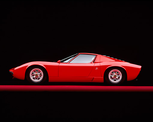 LAM 03 RK0002 02 © Kimball Stock 1967 Lamborghini Miura P-400 Red Profile On Red Line Studio