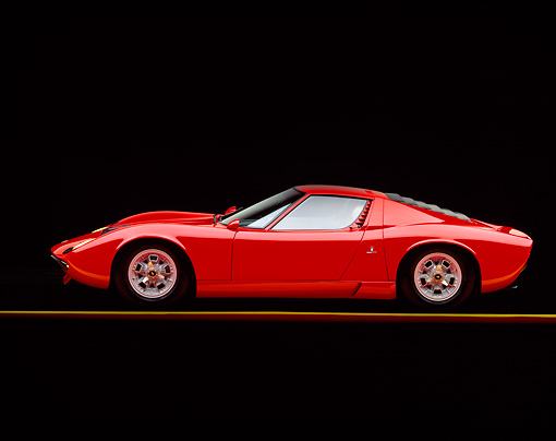 LAM 03 RK0004 01 © Kimball Stock 1967 Lamborghini Miura P-400 Red Profile On Gray Line Studio