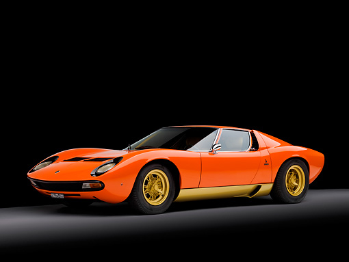 LAM 03 RK0024 01 © Kimball Stock 1972 Lamborghini Miura Orange 3/4 Front View Studio