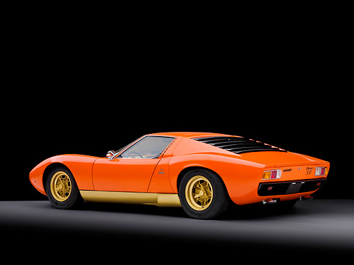 LAM 03 RK0026 01 © Kimball Stock 1972 Lamborghini Miura Orange 3/4 Rear View Studio