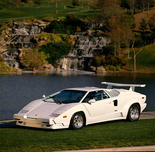 LAM 05 RK0016 10 © Kimball Stock 1989 Lamborghini 25th Anniversary Edition White Front 3/4 View On Grass By Water