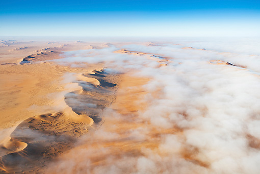 LAN 01 MH0028 01 © Kimball Stock Thick Fog From Atlantic Ocean Blanketing Dunes Namib Desert