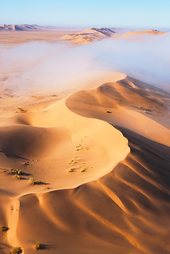 LAN 01 MH0031 01 © Kimball Stock Thick Fog From Atlantic Ocean Blanketing Dunes Namib Desert