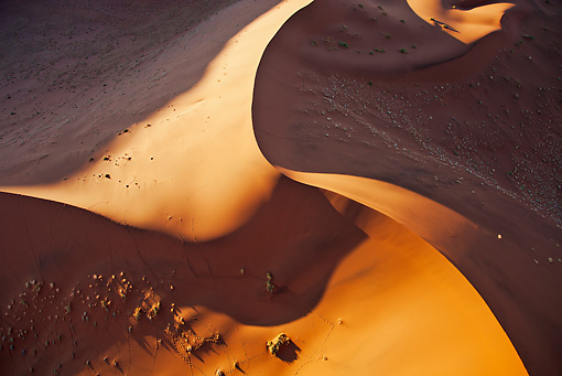 LAN 01 MH0033 01 © Kimball Stock Aerial View Of Red Sand Dunes Namib Desert