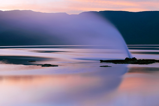 LAN 01 MH0055 01 © Kimball Stock Geyser And Hot Springs At Lake Bogoria At Sunset Kenya