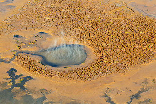 LAN 01 MH0079 01 © Kimball Stock Aerial View Of Lake Logipi (Saline Alkaline Lake) In Suguta Valley, Northern Kenya