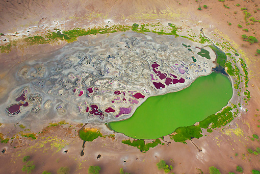 LAN 01 MH0084 01 © Kimball Stock Aerial View Of Magado Crater At Northeast Tip Of Nyambeni Mountain Range, Northern Kenya