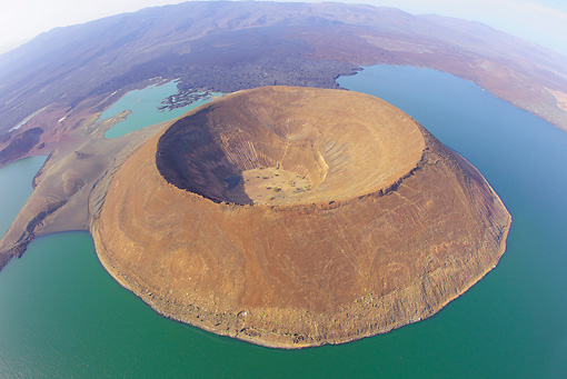 LAN 01 MH0088 01 © Kimball Stock Aerial View Of Lake Turkana (World's Largest Alkaline Lake) In Great Rift Valley, Northern Kenya