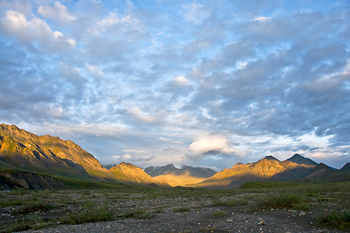 LAN 02 NE0001 01 © Kimball Stock Early Morning Light Hits Brooks Range In Arctic National Wildlife Refuge, Alaska
