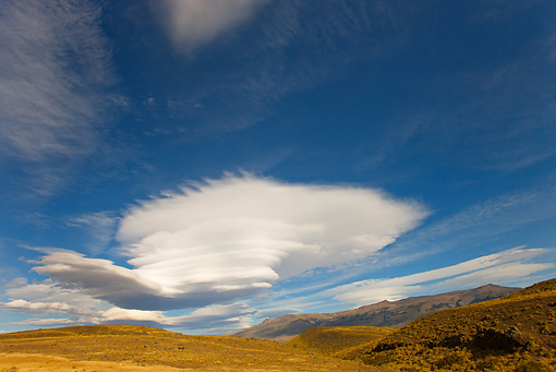 LAN 04 MC0002 01 © Kimball Stock Lenticular Clouds Over Torres del Paine National Park Chile