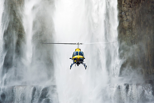 LAN 04 MH0010 01 © Kimball Stock Helicopter Flying In Front Of Aponwao Waterfall Venezuela