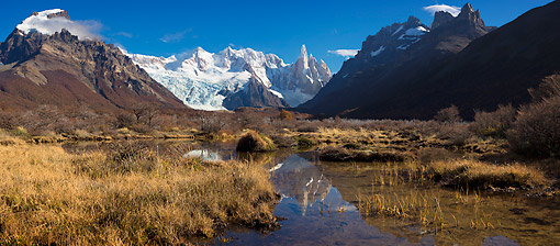 LAN 04 MH0034 01 © Kimball Stock Panoramic View And Reflection In Water Of Cerro Torre Mountains In Patagonia, Argentina