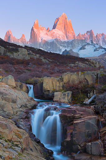LAN 04 MH0036 01 © Kimball Stock Waterfalls Of Arroyo Del Salto River By Fitz Roy Massif Mountains In Patagonia, Argentina