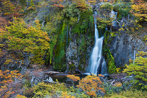 LAN 04 MH0049 01 © Kimball Stock Scenic Waterfall In Patagonia, Argentina