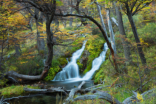 LAN 04 MH0050 01 © Kimball Stock Scenic Waterfall In Patagonia, Argentina