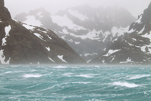 LAN 06 MC0004 01 © Kimball Stock Stormy Water And Mountains In Antarctic Region, Drysgalski Fjord