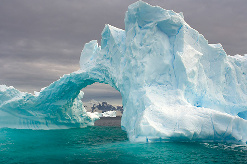 LAN 06 SK0002 01 © Kimball Stock Arched Iceberg Floating In Southern Ocean Off Western Antarctic Peninsula