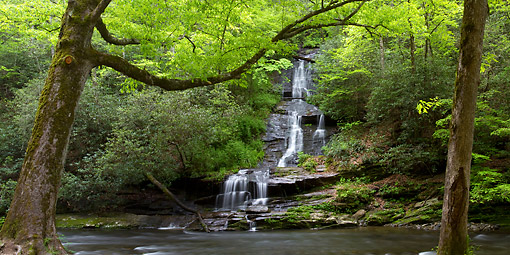 LAN 07 DA0026 01 © Kimball Stock Panorama Of Tom Branch Falls At Deep Creek In Spring, Great Smoky Mountains National Park, North Carolina