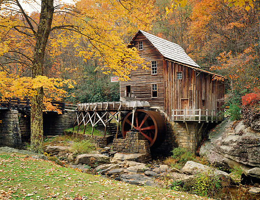 LAN 07 GR0042 01 © Kimball Stock Glade Creek Mill In Autumn At Babcock State Park, West Virginia