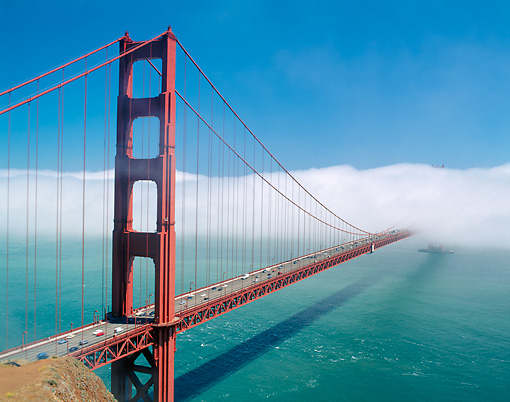 LAN 07 GR0046 01 © Kimball Stock Golden Gate Bridge In Summer Fog San Francisco
